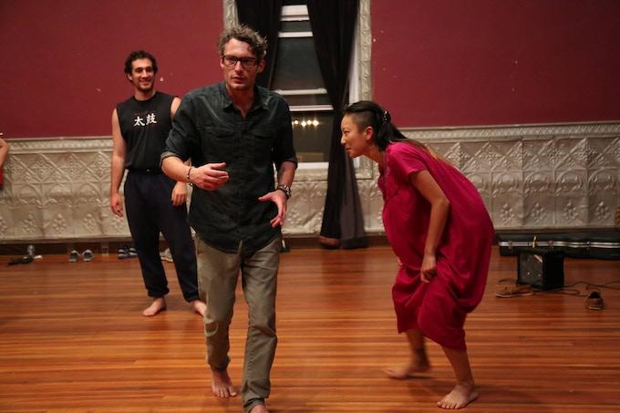 Zach, Welland and Poppy in rehearsal