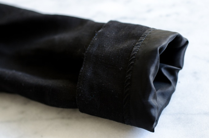 Sleeves are fully-lined, and look polished even when cuffed.