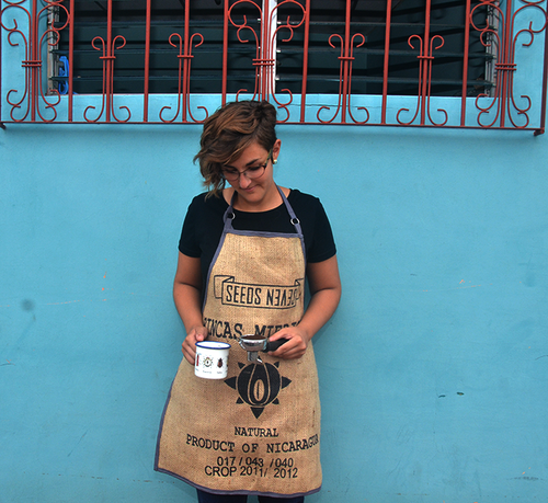 Burlap apron made from upcycled coffee sack