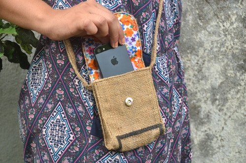 Burlap cell phone carrier made from upcycled coffee sack