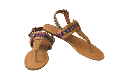 Burlap women's sandals made from upcycled coffee sack