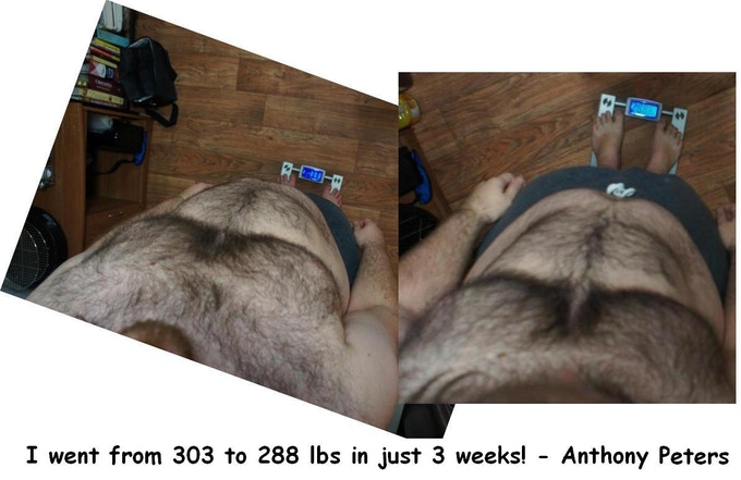 Anthony lost 15 lbs in 3 weeks