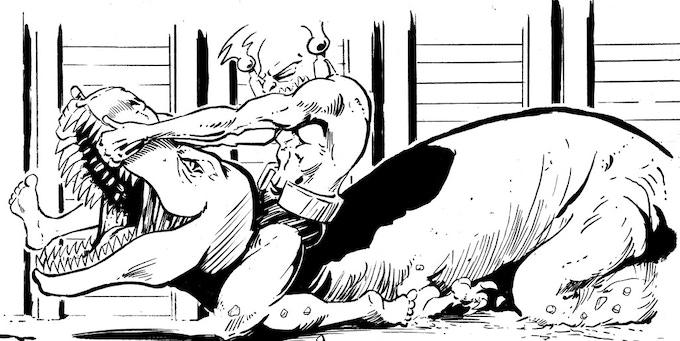Dinosaur Wrestling Action!