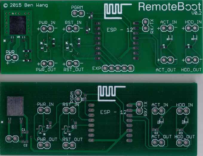 Remoteboot version 0.1 (bottom) and 0.2(top), PCB