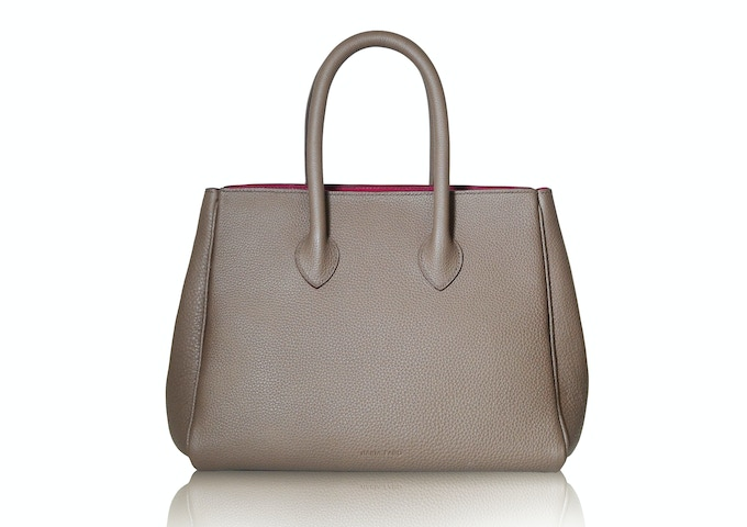 Michelle bag in taupe color with magenta interior