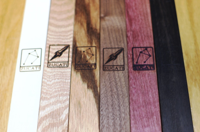 Left to Right: American Holly - Oak - Zebra Wood - Black Walnut - Purpleheart - Gabon Ebony