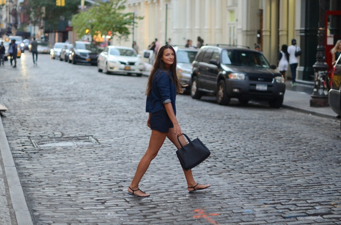 Walking with black color Michelle bag in SOHO