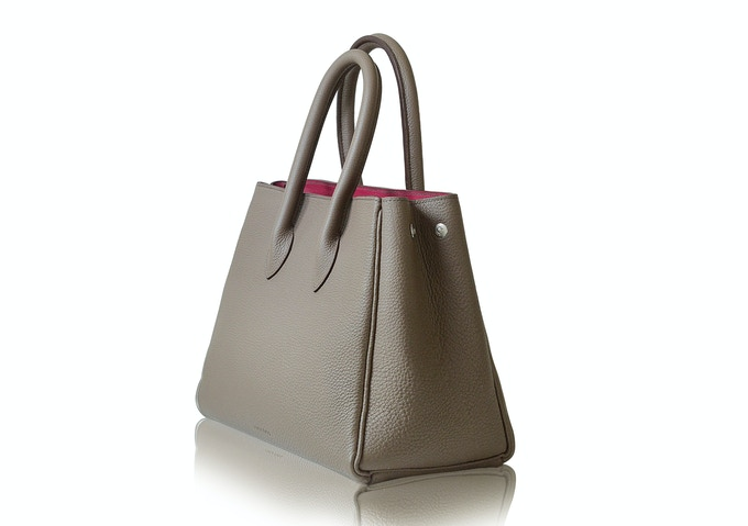 Side view of taupe Michelle bag