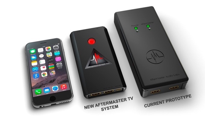 Original prototype and new AfterMaster TV next to an iPhone