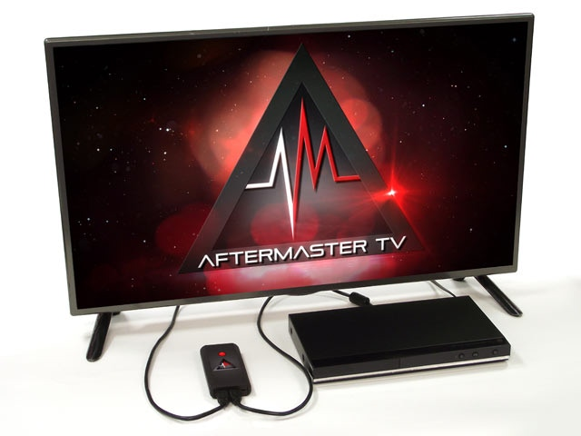 AfterMaster TV connects in seconds via HDMI cables between your audio/video source (cable, satellite box, etc.) and your TV.