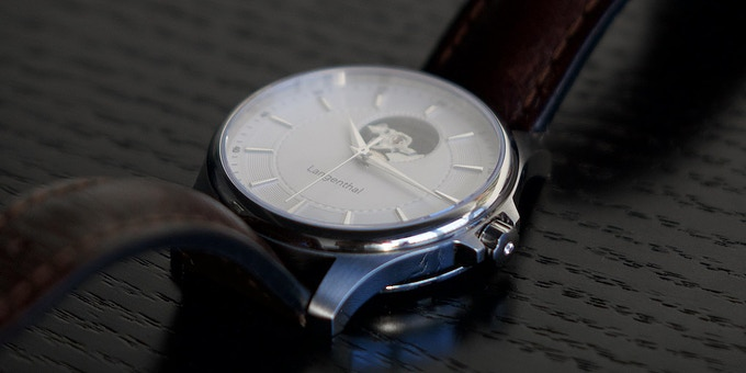 Langenthal watch with brown leader strap