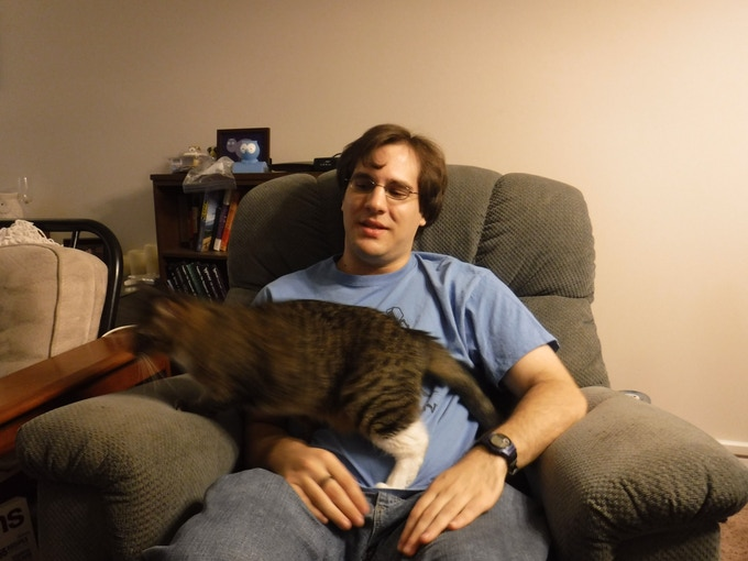 Pictured with an uncooperative robocat*.