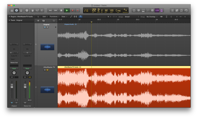 This is an actual screenshot of audio before and after. AfterMaster audio processing works throughout the frequency range and allows us to raise and clarify dialogue while making everything else sound bigger, fuller, deeper without being overpowering.