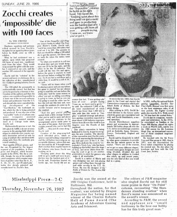 1987 newspaper article covering Lou Zocchi's creation of the 100-sided die