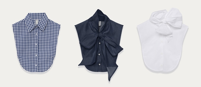 Le Cou dickeys are beautiful wardrobe basics. From left to right: The Wakefield in Royal Blue Gingham, Olympia in Chambray, Olympia in White.