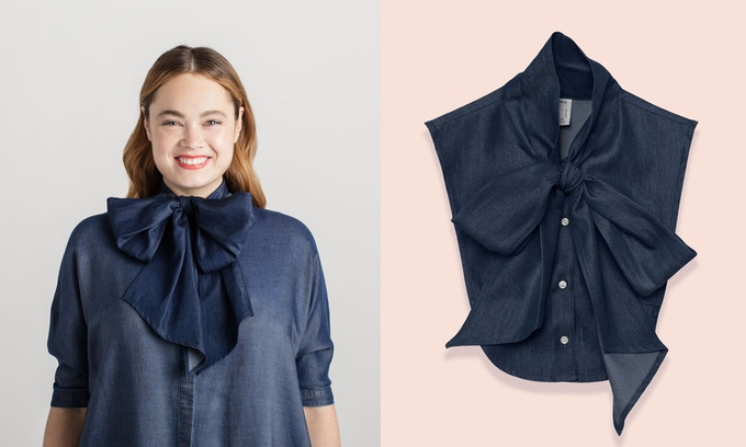 Happiness is wearing denim on denim with a giant bow. Size 12 model wears Olympia in Chambray in size M/L.