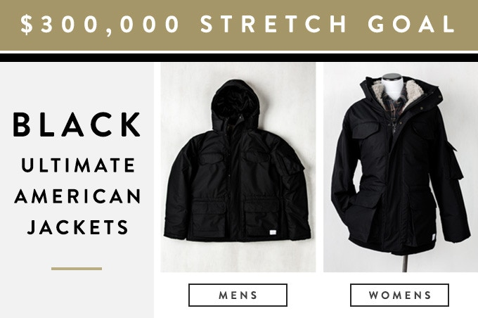 If we reach $300,000 in pledges, we will add black as a color option for The Ultimate American Jacket (for both men and women).