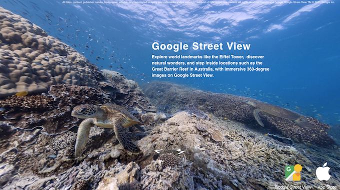 Explore world landmarks like the Eiffel Tower,  discover natural wonders, and step inside locations such as the Great Barrier Reef in Australia, with immersive 360-degree images on Google Street View.
