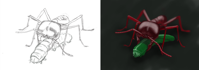 Concept art image of Driver ant with caterpillar