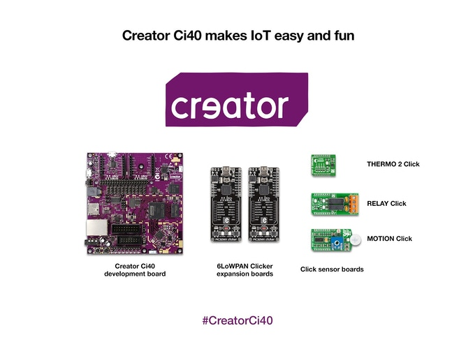 The contents of the Creator Ci40 IoT kit