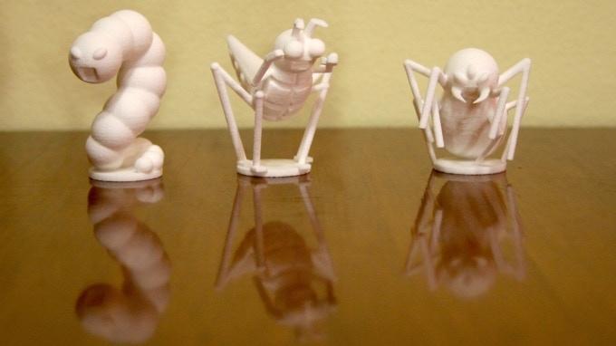 3D-printed Prototype version of the 3 Predators in BrilliAnts: The worm, the grasshopper, and the spider