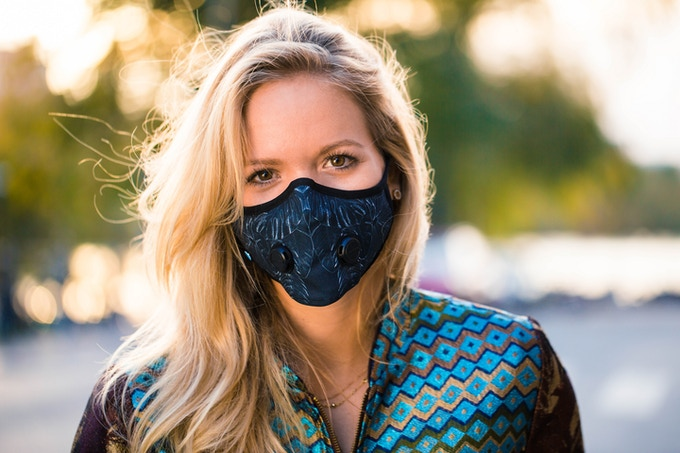 Airinum's Urban Breathing mask with flower pattern.