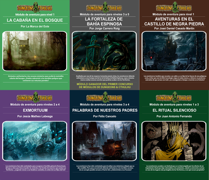 Todos estos módulos serán tuyos por ser mecenas de Dungeons & Cthulhu
