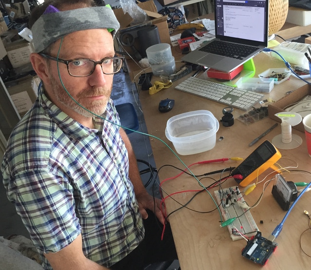 "Joel testing a breadboarded prototype of the tDCS Shield: ""Ooooo! It's tingly…"""