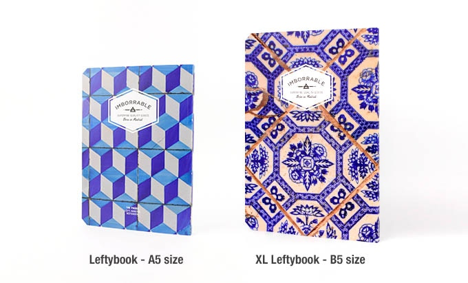 Size comparison between the Leftybook and the XL Leftybook