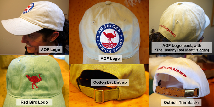 HAT STYLES.  Specify your preferences in post-campaign survey: AOF Logo or Red Bird; and Ostrich leather trim or brushed cotton closure
