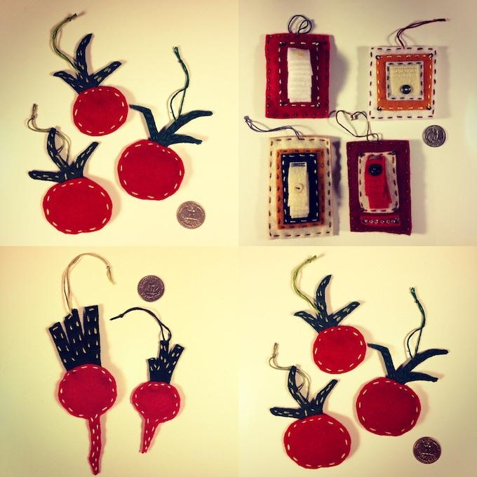 hand-sewn felt christmas ornaments!