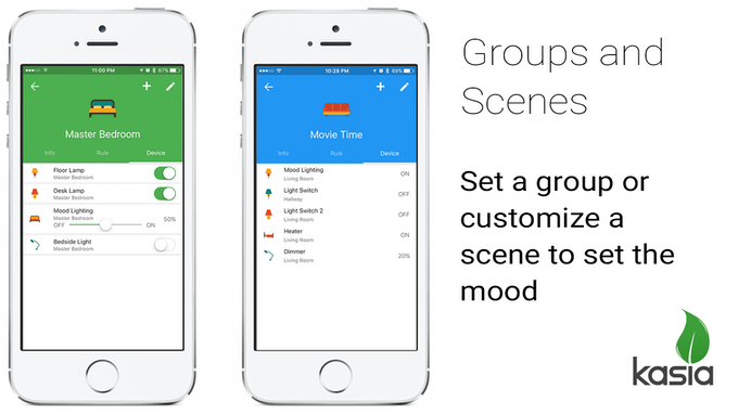 Put your devices into groups and scenes to activate all lights on and off or to set the mood.