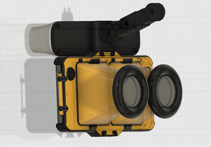 CAD drawing of the NEODiVR xTREME with Structure Sensor (Side View)