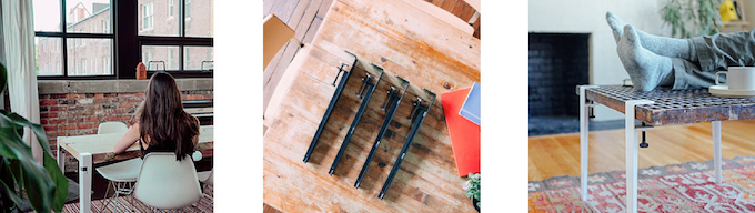 Our first product, The Floyd Leg, is a set of table legs that clamps to any flat surface