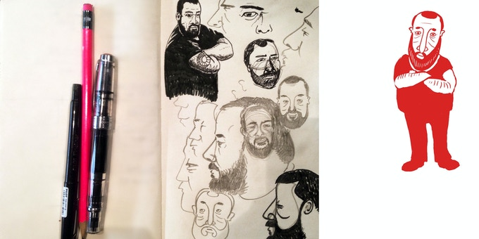 Process sketches for the editorial cartoons by an anonymous illustrator.