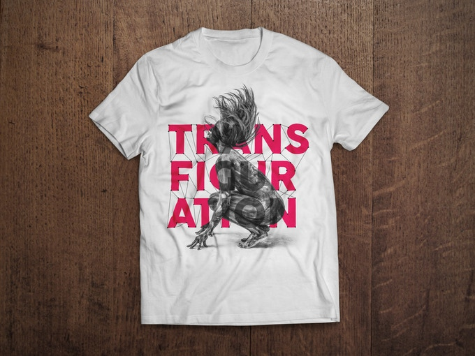 £20 REWARD - Early Bird instead of £25, only 20 available! 1st 'Transfiguration' T-Shirt (World Premiere)! Uniquely created in collaboration w/ graphic designer Assaf Shalev. Photo: Dancer Alejandra Baño. Limited run of 250. Hand Screen-printed in London.