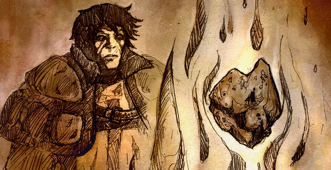 Taharial gazes into the Pyre while it attunes one of the magic crystals
