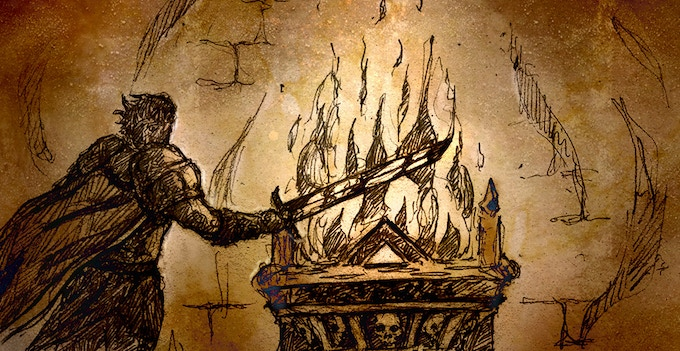 Taharial using the power of the Pyre to enhance the power of his sword