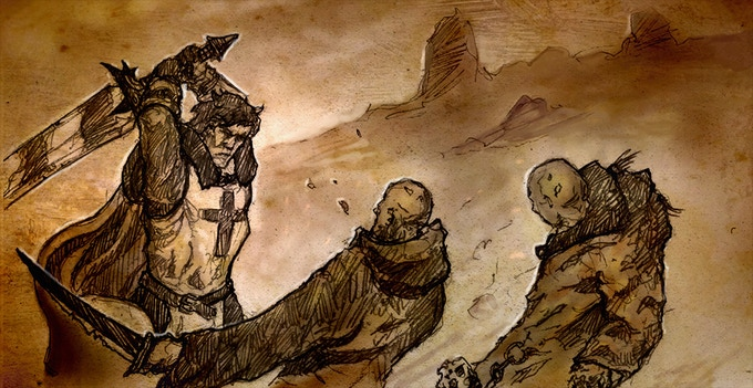 Taharial swinging a giant sword over his head to take down multiple enemies in one fell swoop