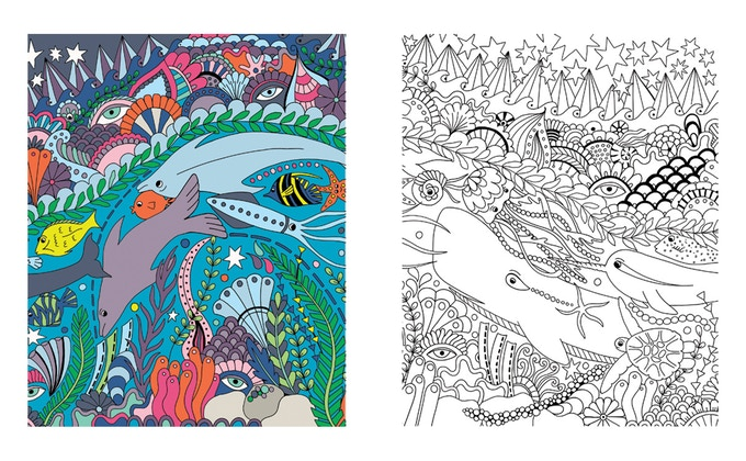 Jungle Reef by Becky Dinnage A3 colouring print set