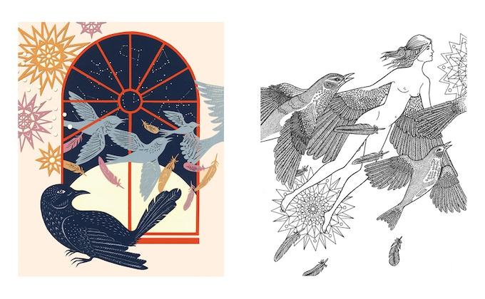 Through the Window by Hazel Partridge A3 colouring print set