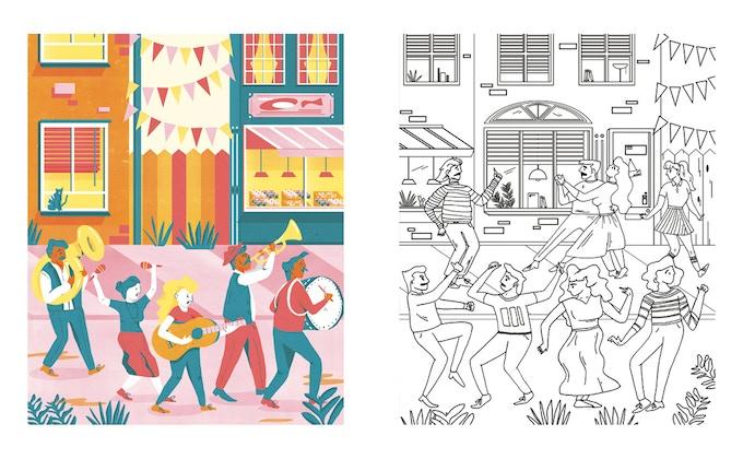 Dancers by Jennifer Leem-Bruggen A3 colouring print set