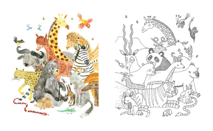 The Unconventional Herd by Lorna Scobie A3 colouring print set