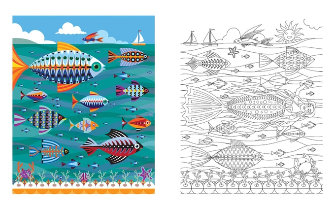 Daydreams of the Deep by Suzanne Carpenter A3 colouring print set