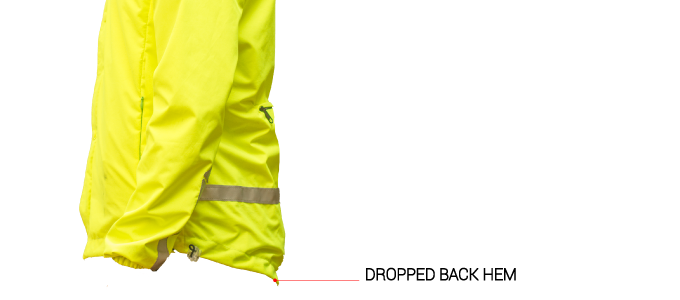 Comfort: The jacket is slightly longer at the back to prevent your trousers to get wet.