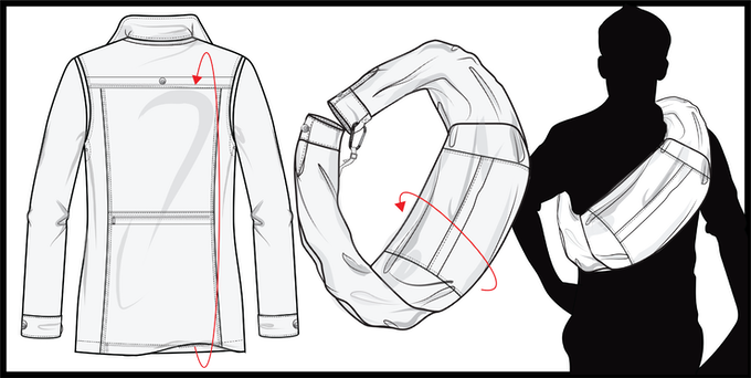 Fold the coat and clip the sleeves together to transform the jacket into a satchel