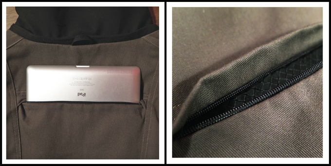 Our water-resistant back tablet pocket secures easily without adding bulk in unflattering places