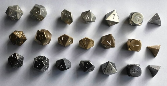 Full 7-Piece sets in (Top to Bottom) Magnesium - Bronze - Meteorite