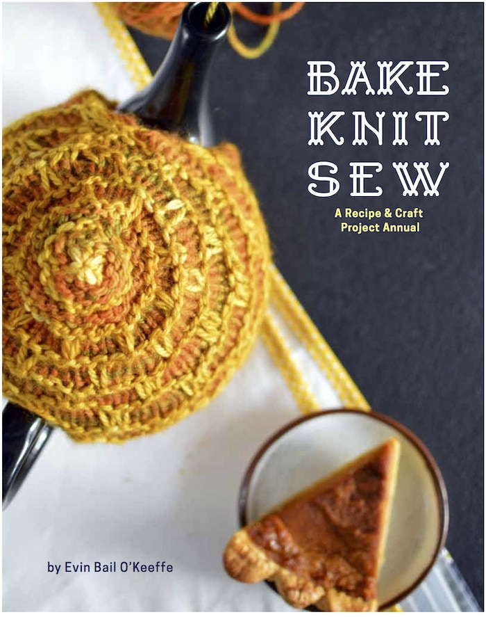 A book with one knitting or sewing project and one corresponding baking recipe for each month of the year.