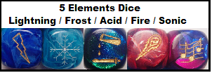 Fire, Lightning, Frost, Acid, and Sonic d6s
